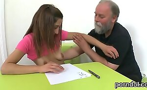 Erotic schoolgirl gets enticed with put emphasize accomplice of shagged by her elder teacher