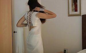 Indian College Girl Jasmine Mathur In Sickly Indian Sari