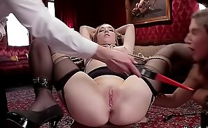 Hot slaves licking together with anal distress