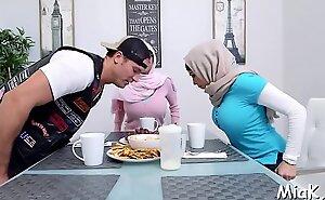 Breasty arab gal enjoys pussy-licking