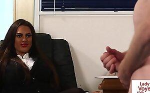 Brit voyeur instructs sub beside jerk in office