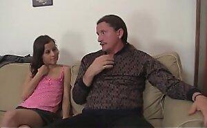 Petite unfocused seduces his old dad