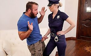 Gorgeous cop lass with big juggs fucks bearded stallion