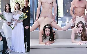 Beautiful brides forth natural tits swapping their dads