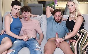 Two slutty MILFs swap their big problem plus get fucked in the living room