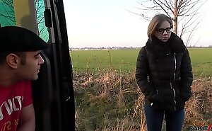 Small tiny babe found in the fields and cum covered glasses after great fuck