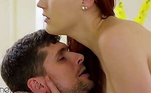 Dane Jones Sexy redhead Charlie Peppery idealizer dealings on love-seat with passionate darling