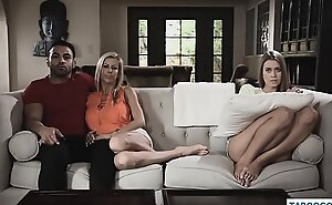 Mom and daughter threesome with boyfriend