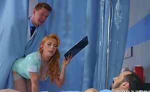 Horny Russian doctor copulates redhead nurse with regard to the ass
