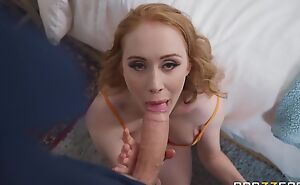 Pale-skinned damsel with beamy boobs serves massive cock