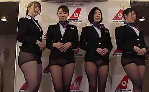 Group of Oriental stewardesses getting fucked pleasurable and proper
