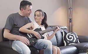 OLD4K. Attractive sexpot enjoys fantastic sex regarding mature guitarist