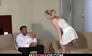 Lovely youthful blonde falls for say no to BF&#039_s dad