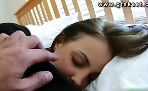 Sleeping babe Krystal gets fucked